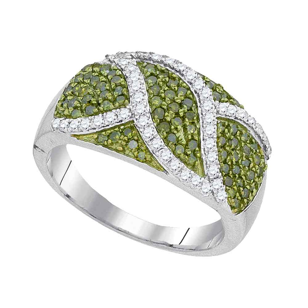 10kt White Gold Womens Round Green Color Enhanced Diamond Fashion Ring 3/4 Cttw