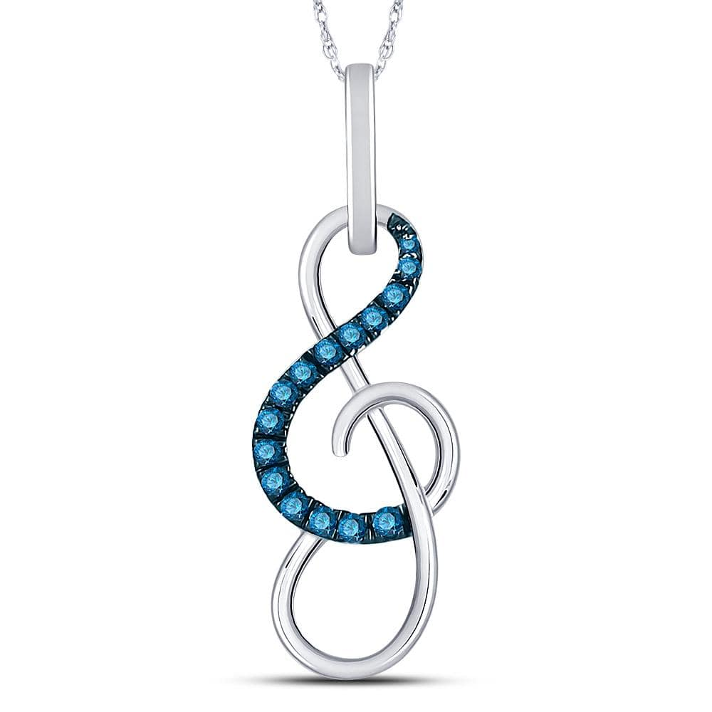 10kt White Gold Womens Round Blue Color Enhanced Diamond Treble Clef Music Pendant 1/10 Cttw
