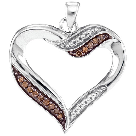 10kt White Gold Womens Round Cognac-brown Color Enhanced Diamond Heart Pendant 1/10 Cttw
