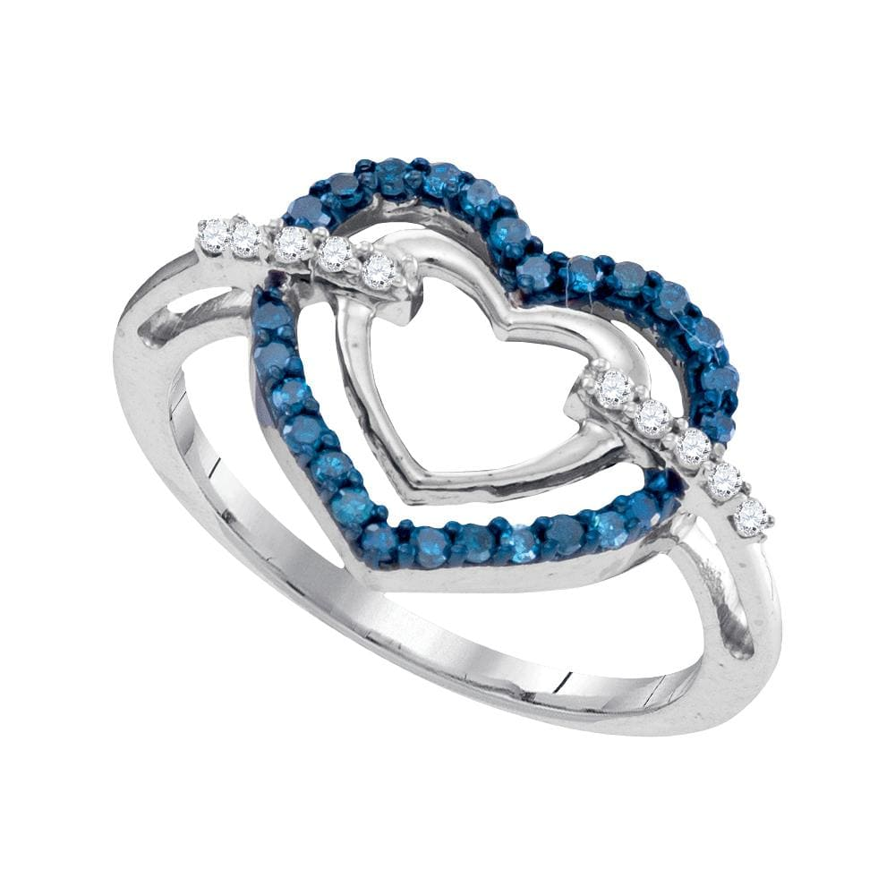 10kt White Gold Womens Round Blue Color Enhanced Diamond Double Frame Heart Ring 1/4 Cttw