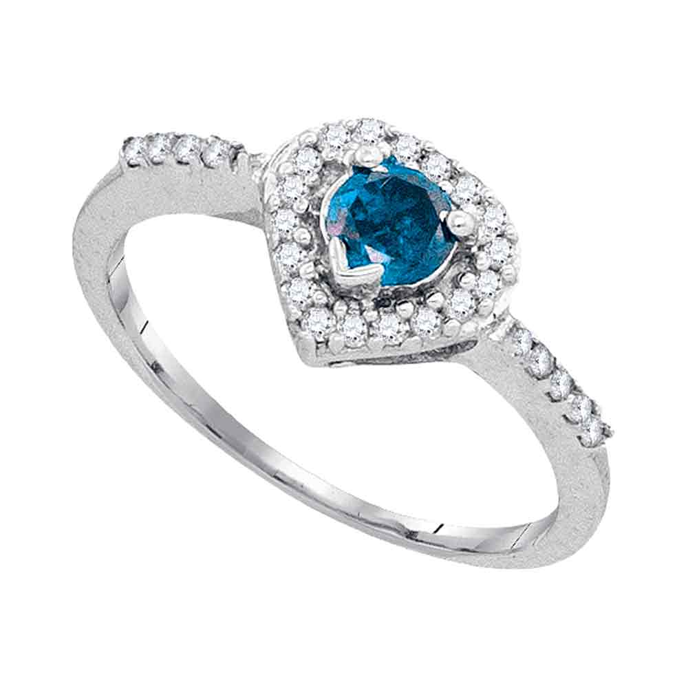 10kt White Gold Womens Round Blue Color Enhanced Diamond Solitaire Heart Frame Ring 1/2 Cttw