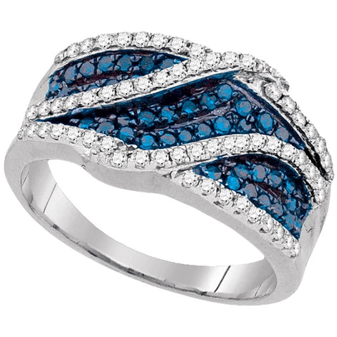 10kt White Gold Womens Round Blue Color Enhanced Diamond Crossover Double Stripe Band 3/4 Cttw