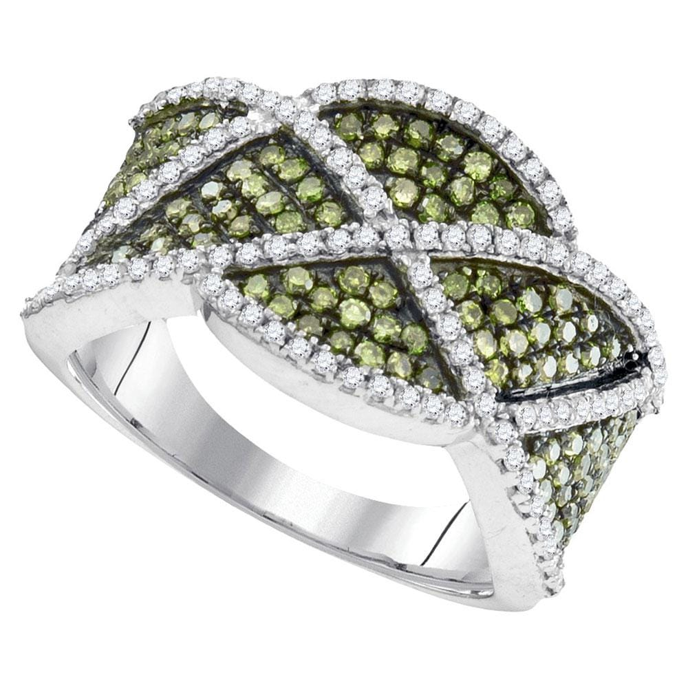 10kt White Gold Womens Round Green Color Enhanced Natural Diamond Band Ring 1.00 Cttw