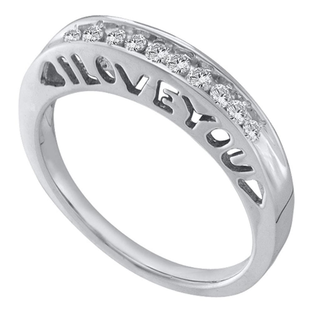 10kt White Gold Womens Round Diamond I Love You Band Ring 1/ Cttw