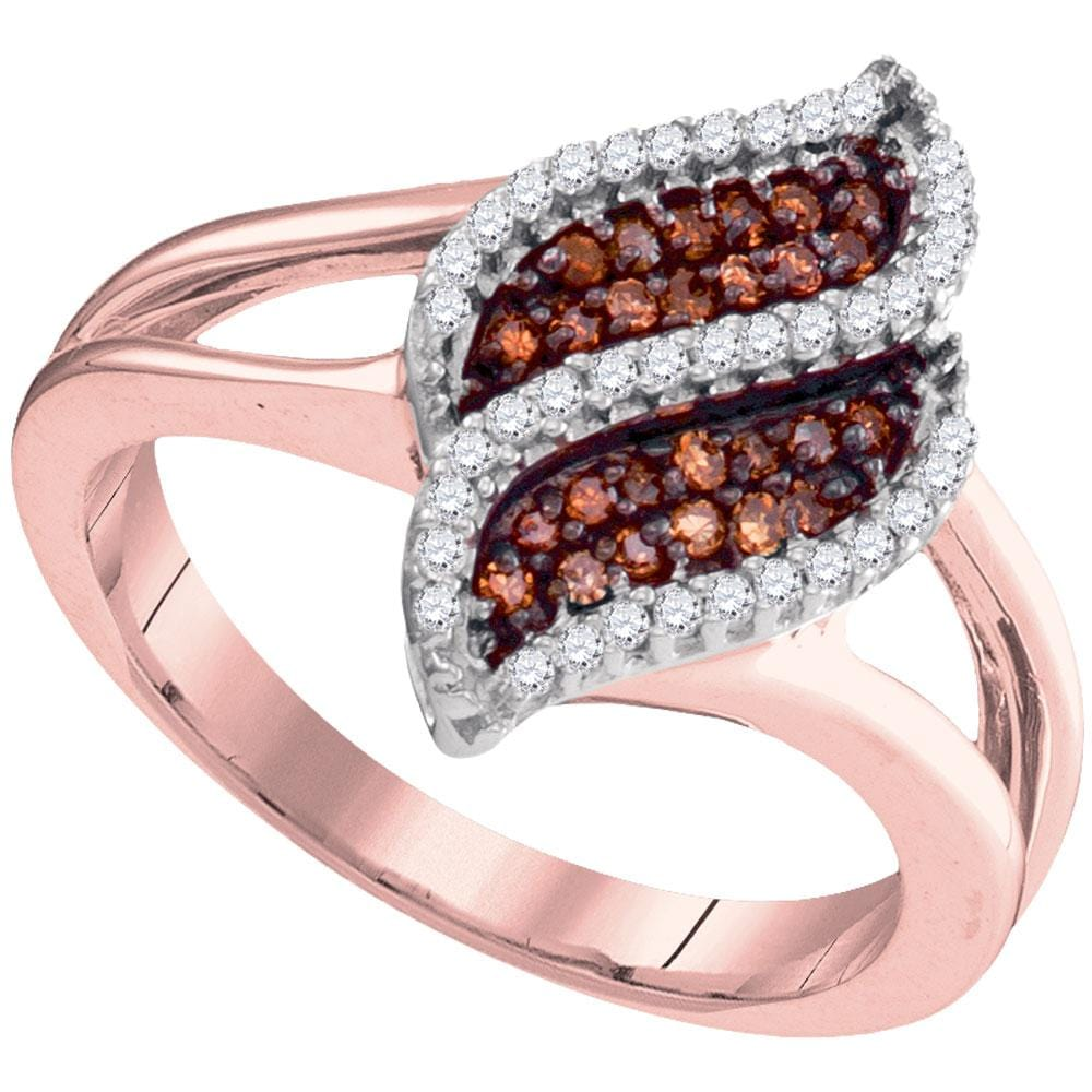 10kt Rose Gold Womens Round Red Color Enhanced Diamond Oval Cluster Split-shank Ring 1/3 Cttw