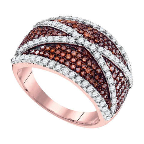 10kt Rose Gold Womens Round Red Color Enhanced Diamond Crisscross Stripe Cocktail Ring 1.00 Cttw