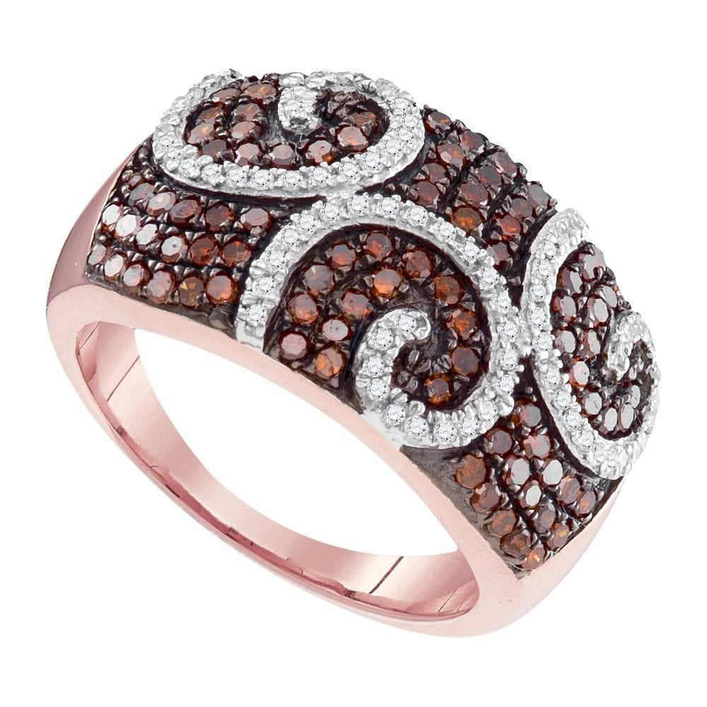 10kt Rose Gold Womens Round Red Color Enhanced Diamond Swirl Fashion Ring 7/8 Cttw