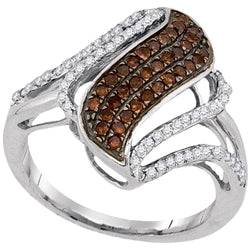 10kt White Gold Womens Round Cognac-brown Color Enhanced Diamond Cluster Openwork Strand Ring 1/2 Cttw