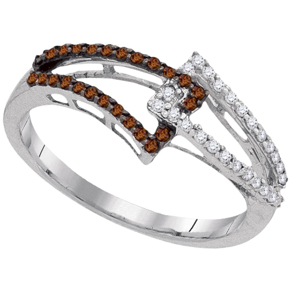 10kt White Gold Womens Round Cognac-brown Color Enhanced Diamond Linked Band 1/4 Cttw