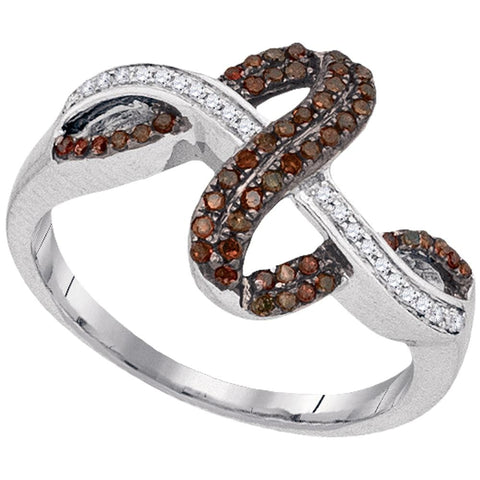 10kt White Gold Womens Round Brown Color Enhanced Diamond Crossover Fashion Ring 1/4 Cttw