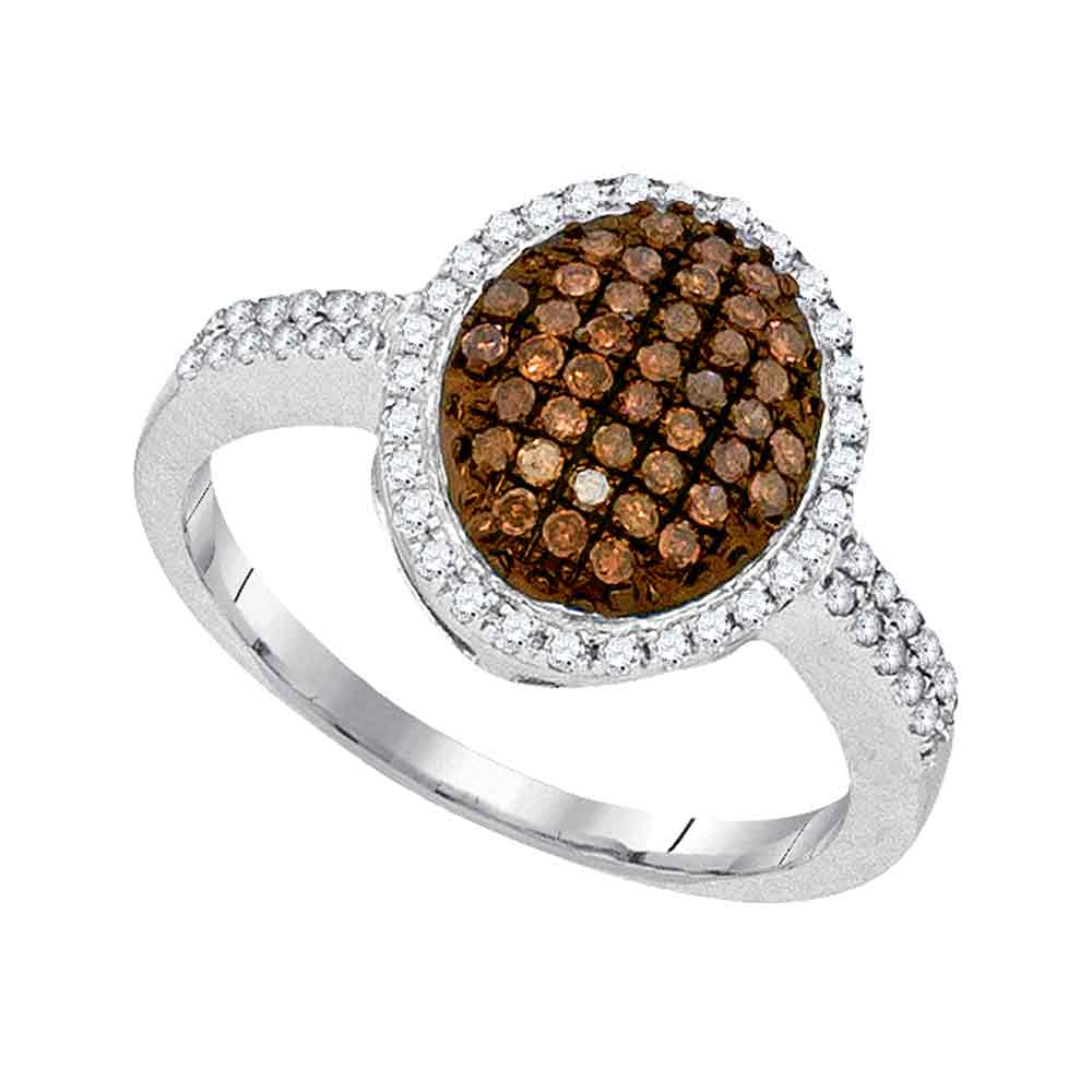 10kt White Gold Womens Round Cognac-brown Color Enhanced Diamond Oval Cluster Ring 3/8 Cttw