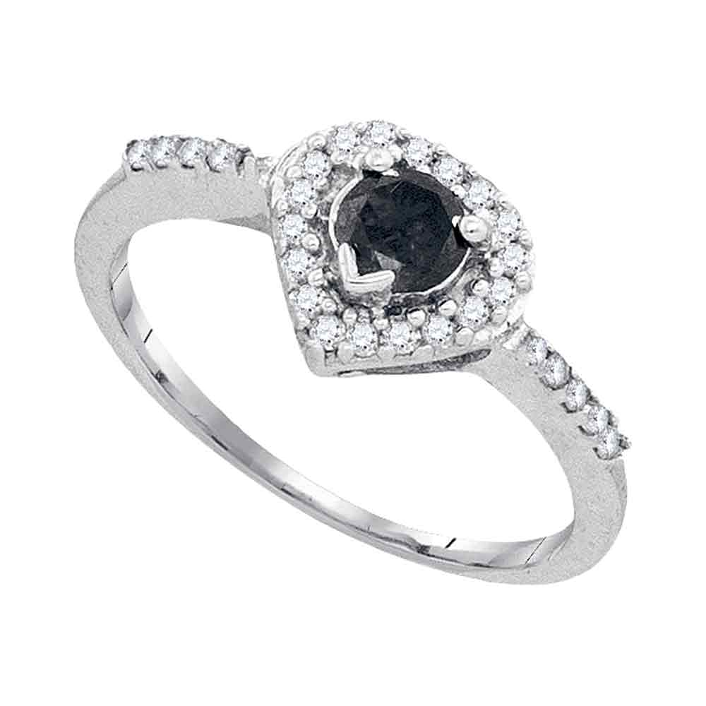 10kt White Gold Womens Round Black Color Enhanced Diamond Heart Ring 1/2 Cttw
