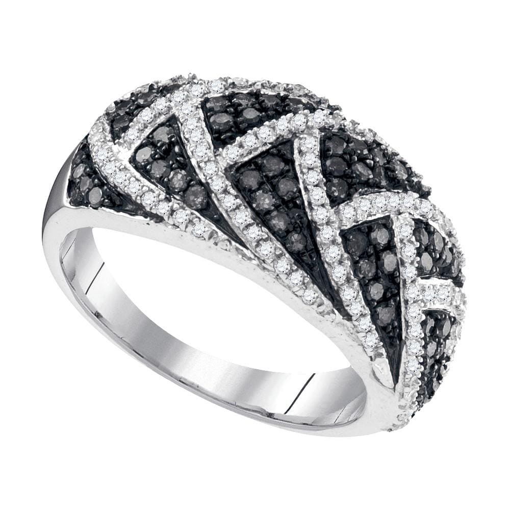 10kt White Gold Womens Round Black Color Enhanced Diamond Striped Fin Band 3/4 Cttw