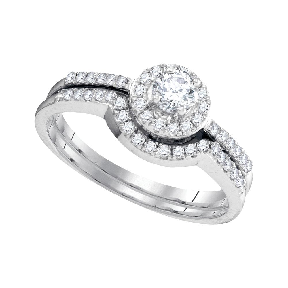 10kt White Gold Womens Round Diamond Halo Bridal Wedding Engagement Ring Band Set 3/8 Cttw
