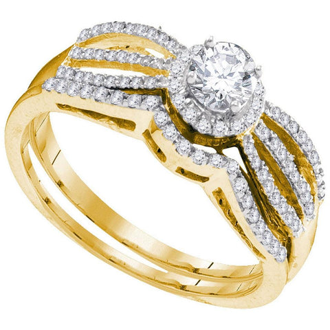 10kt Yellow Gold Womens Round Diamond Split-shank Bridal Wedding Engagement Ring Band Set 3/8 Cttw