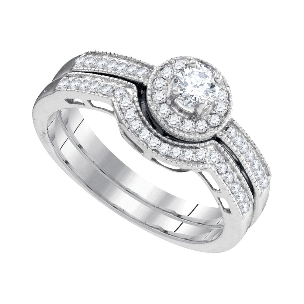 10kt White Gold Womens Round Diamond Bridal Wedding Engagement Ring Band Set 1/2 Cttw