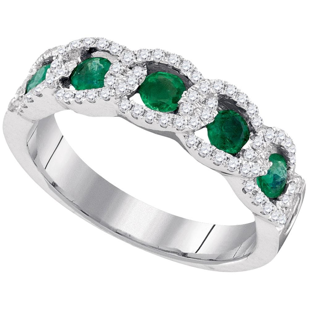 14kt White Gold Womens Round Emerald Diamond Accent Band Ring 1.00 Cttw