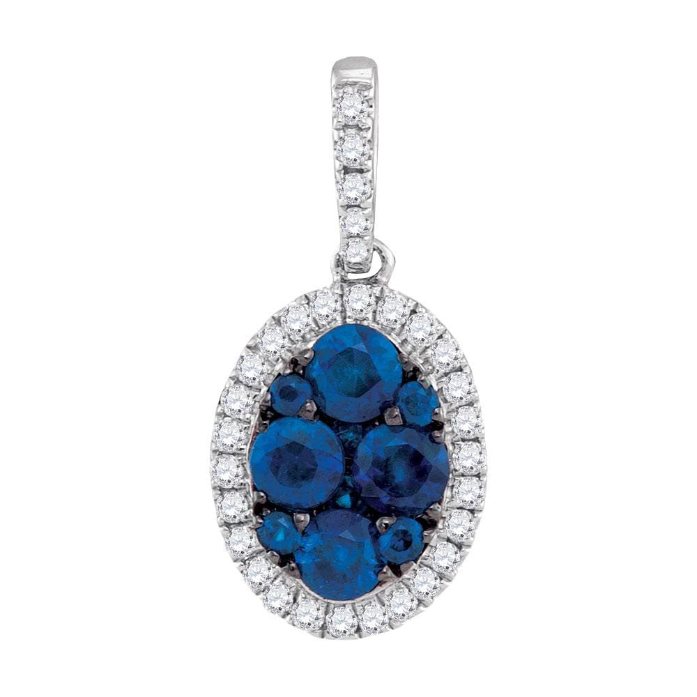 14kt White Gold Womens Round Natural Blue Sapphire Diamond Oval Cluster Pendant 3/4 Cttw