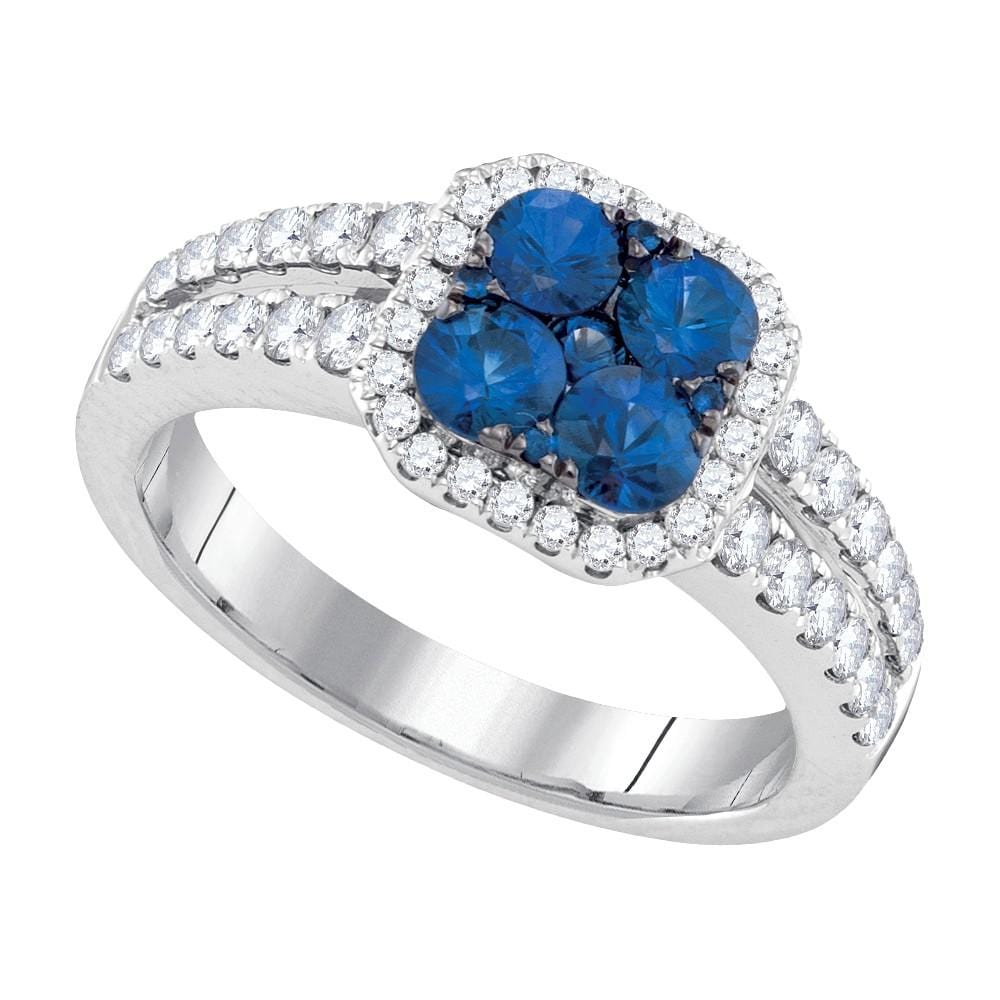 14kt White Gold Womens Round Blue Sapphire Cluster Diamond Halo Bridal Ring 1-1/3 Cttw