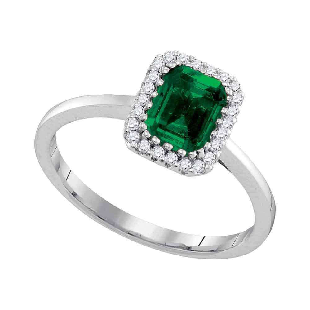 14kt White Gold Womens Natural Emerald Solitaire Diamond Ring 1.00 Cttw