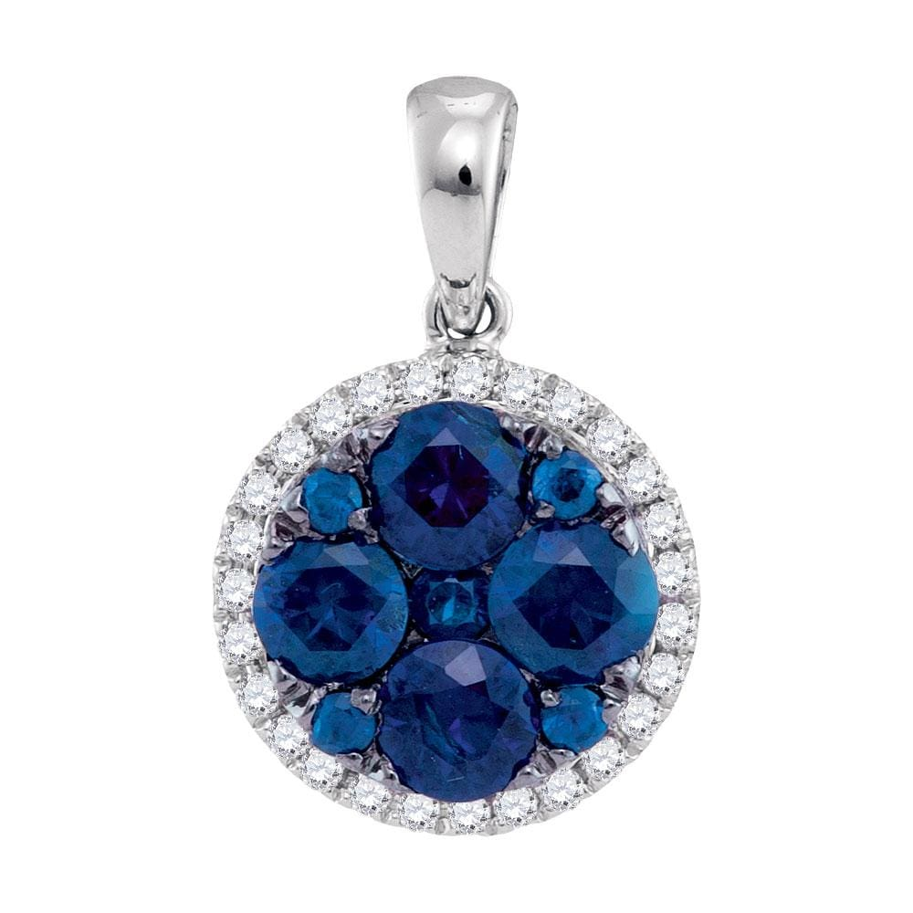 14kt White Gold Womens Round Blue Sapphire Diamond Circle Cluster Pendant 1/8 Cttw