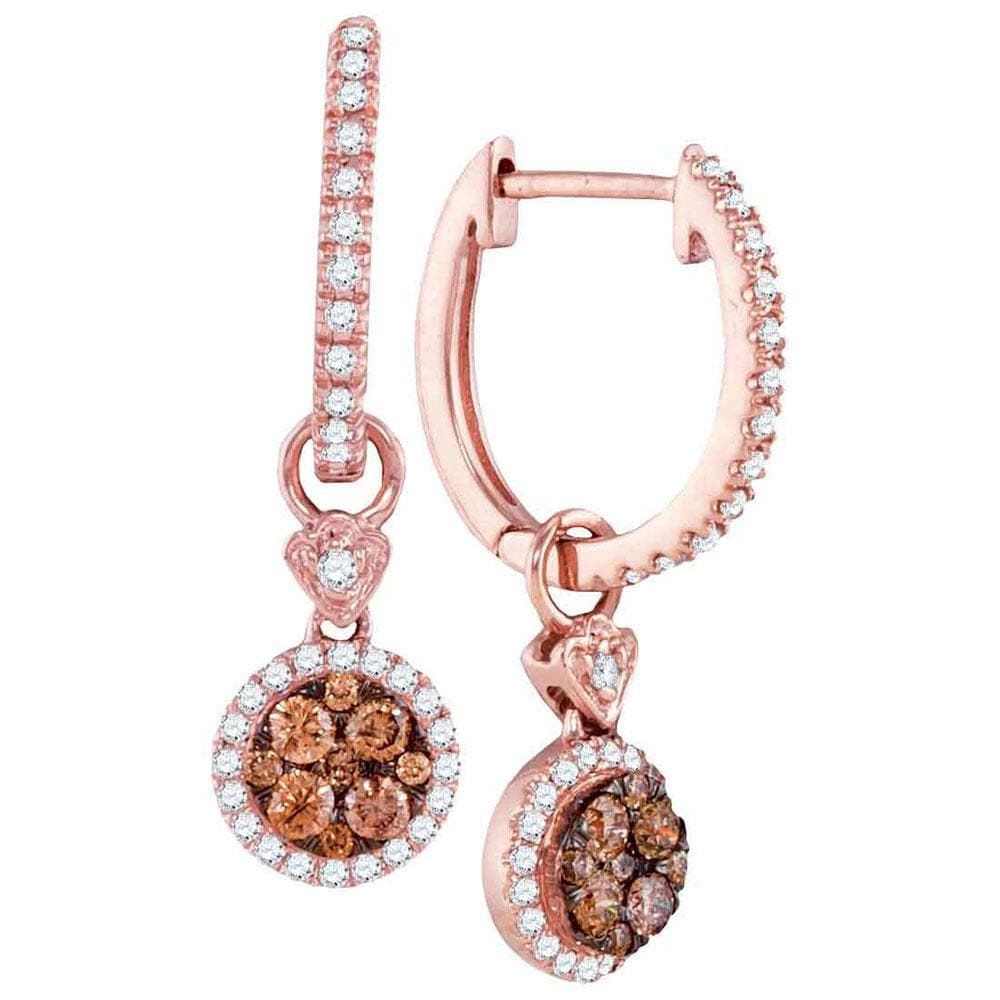 14kt Rose Gold Womens Round Brown Diamond Circle Dangle Earrings 1/2 Cttw
