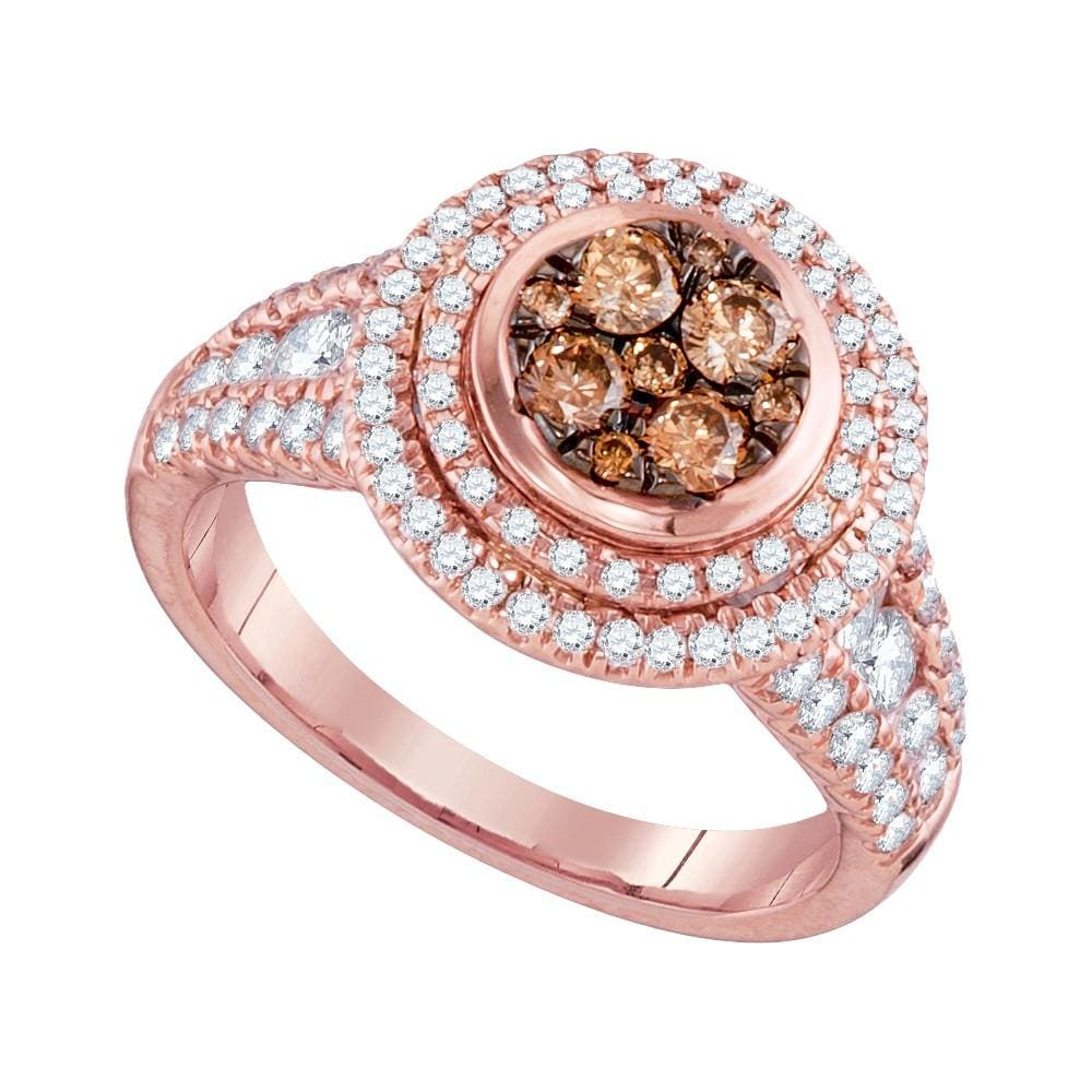 14kt Rose Gold Womens Round Cognac-brown Color Enhanced Diamond Cluster Bridal Wedding Engagement Ring 1-1/2 Cttw