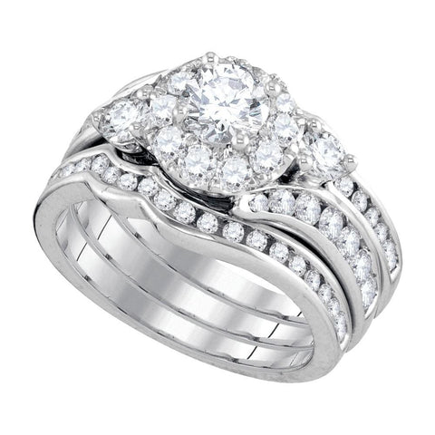 14kt White Gold Womens Round Diamond 3-Piece Bridal Wedding Engagement Ring Band Set 2.00 Cttw