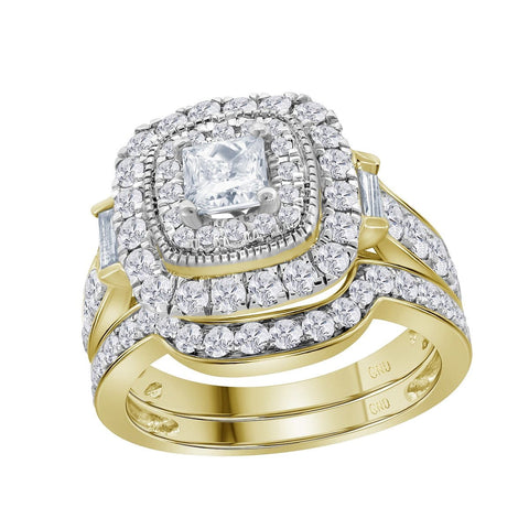 14kt Yellow Gold Womens Round Diamond Square Halo Bridal Wedding Engagement Ring Band Set 2.00 Cttw