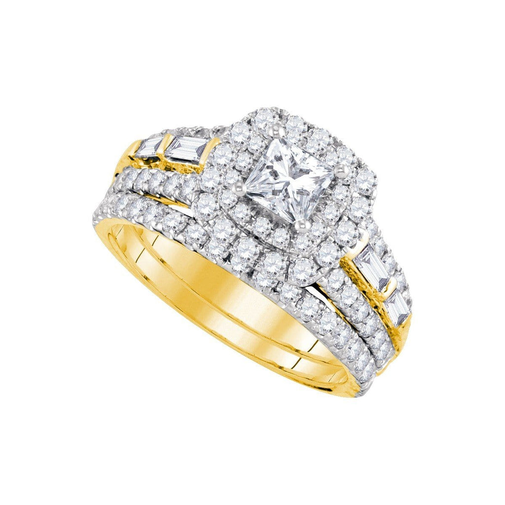 14kt Yellow Gold Womens Princess Diamond Halo Bridal Wedding Engagement Ring Band Set 2.00 Cttw