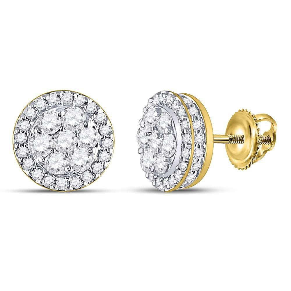 10kt Yellow Gold Womens Round Diamond Flower Cluster Earrings 1.00 Cttw