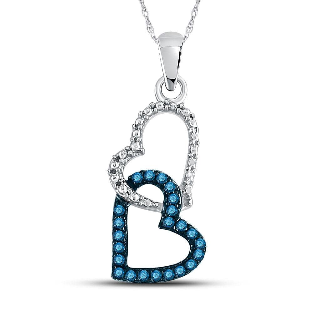 10kt White Gold Womens Round Blue Color Enhanced Diamond Double Heart Dangle Pendant 1/6 Cttw