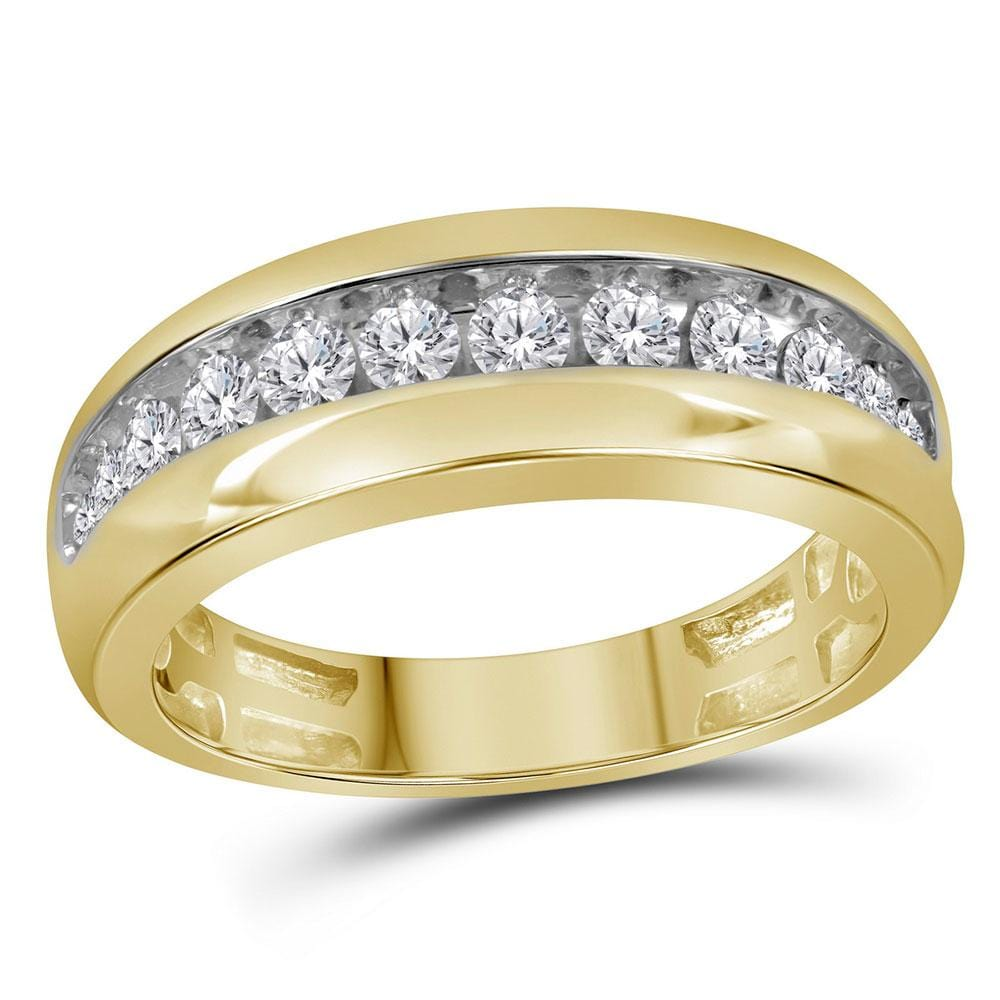 10kt Yellow Gold Mens Round Diamond Wedding Single Row Band Ring 1 Cttw