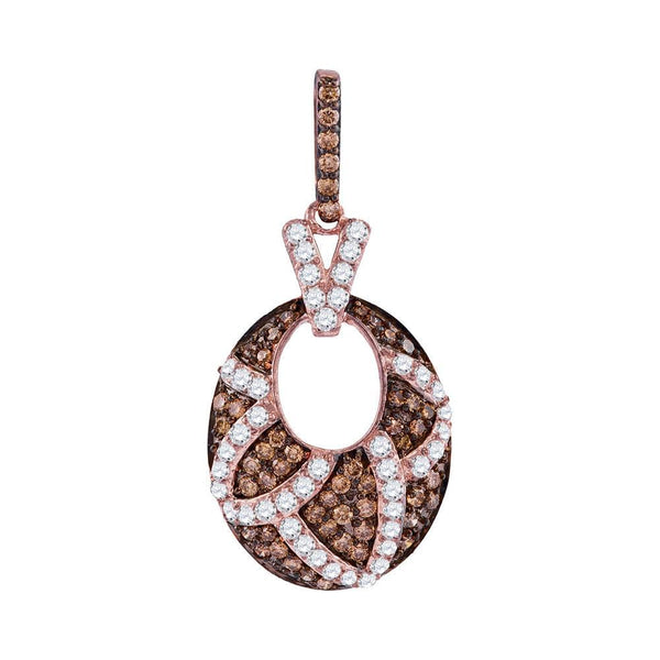 10kt Rose Gold Womens Round Brown Color Enhanced Diamond Oval Pendant 1.00 Cttw