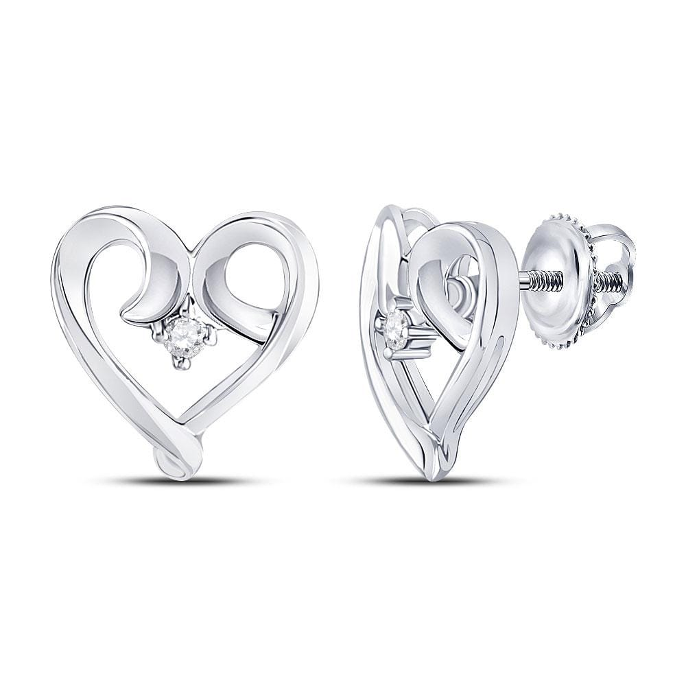 10kt White Gold Womens Round Diamond Heart Earrings 1/20 Cttw