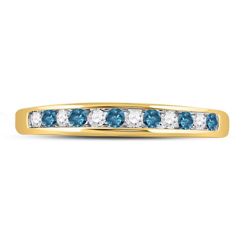 14kt Yellow Gold Womens Round Blue Color Enhanced Diamond Band Ring 1/4 Cttw
