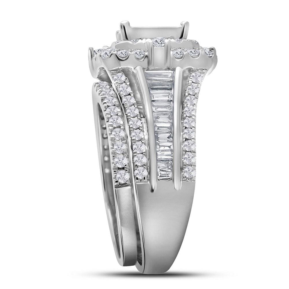 14kt White Gold Princess Diamond Cluster Bridal Wedding Ring Band Set 2-1/3 Cttw