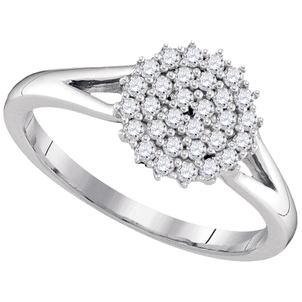 10kt White Gold Womens Round Diamond Concentric Circle Cluster Ring 1/3 Cttw