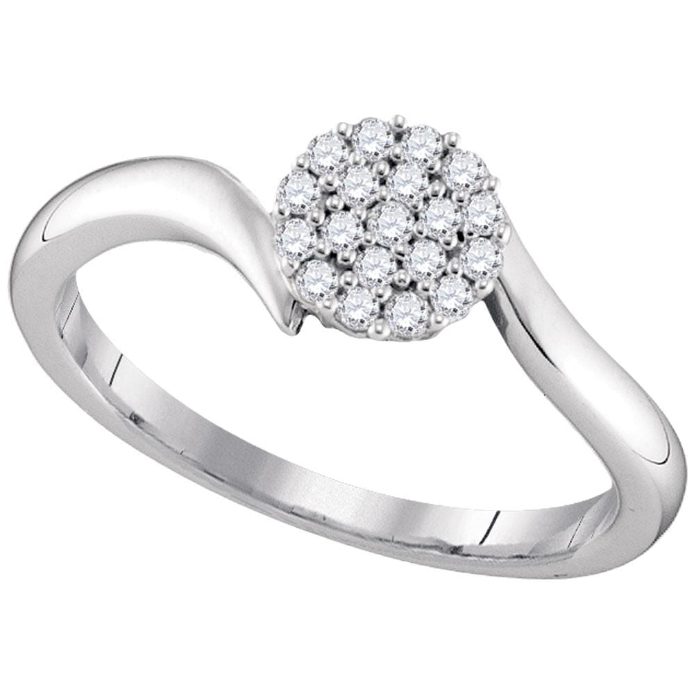 10kt White Gold Womens Round Diamond Cluster Slender Simple Ring 1/6 Cttw