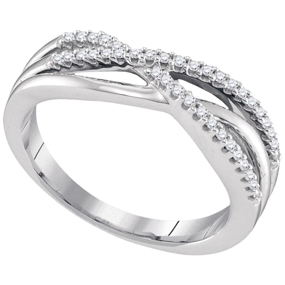 10kt White Gold Womens Round Diamond Triple Strand Crossover Band Ring 1/6 Cttw