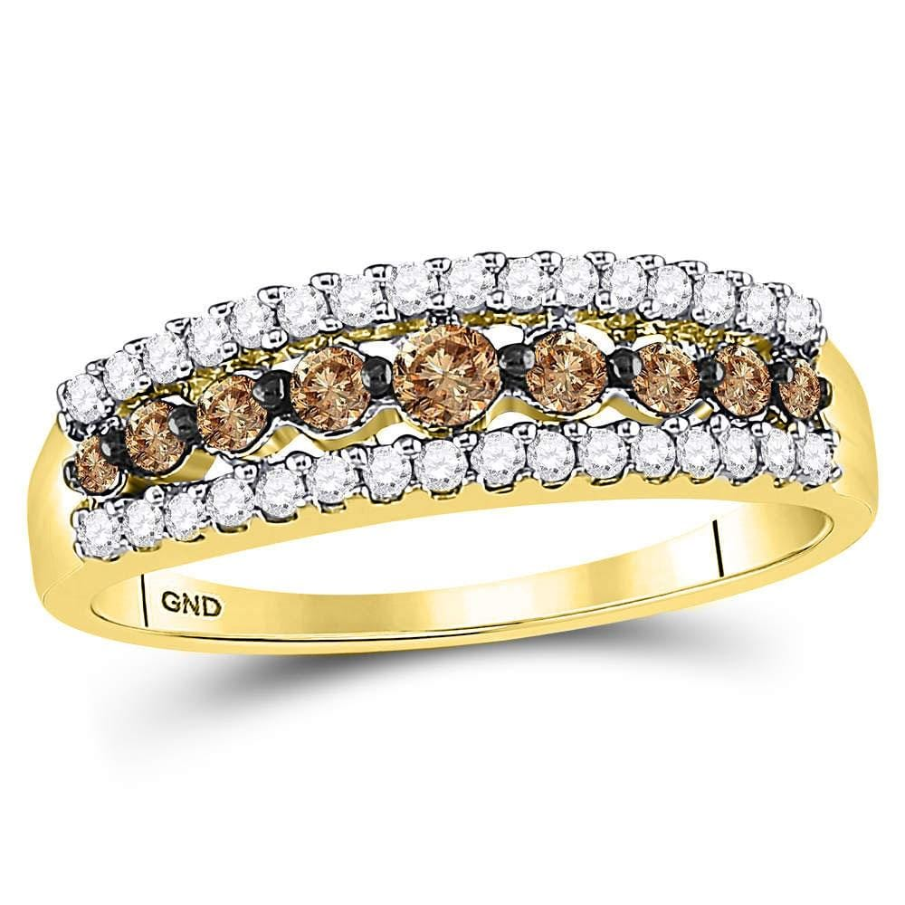 10kt Yellow Gold Womens Round Brown Diamond Band Ring 1/2 Cttw - Size 8