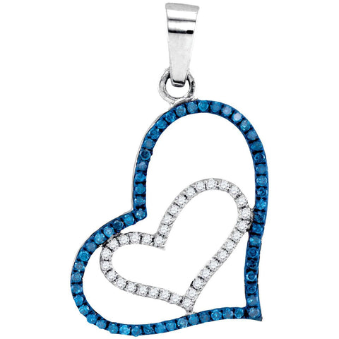 10kt White Gold Womens Round Blue Color Enhanced Diamond Double Heart Pendant 1/4 Cttw