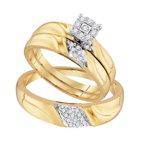 10kt Yellow Gold His & Hers Round Diamond Solitaire Matching Bridal Wedding Ring Band Set 1/5 Cttw