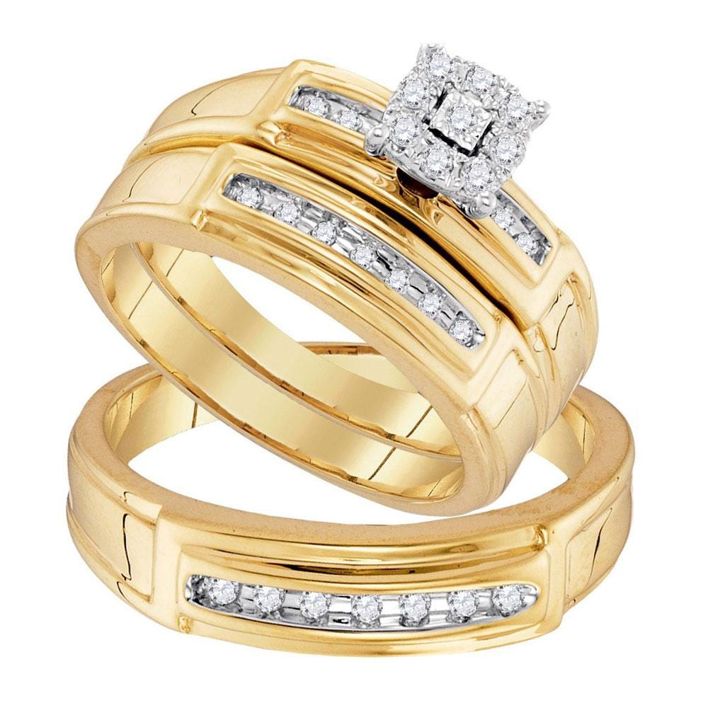 10kt Yellow Gold His & Hers Round Diamond  Matching Bridal Wedding Ring Band Set 1/4 Cttw