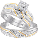 10kt Two-tone Gold His Hers Round Diamond Cluster Matching Wedding Set 1/3 Cttw