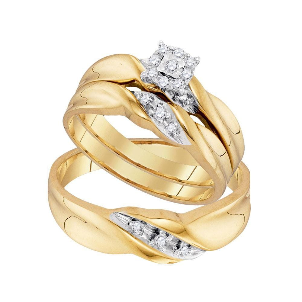 10kt Yellow Gold His Hers Round Diamond Solitaire Matching Wedding Set 1/6 Cttw