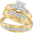 10kt Yellow Gold His & Hers Round Diamond Matching Bridal Wedding Ring Band Set 3/8 Cttw