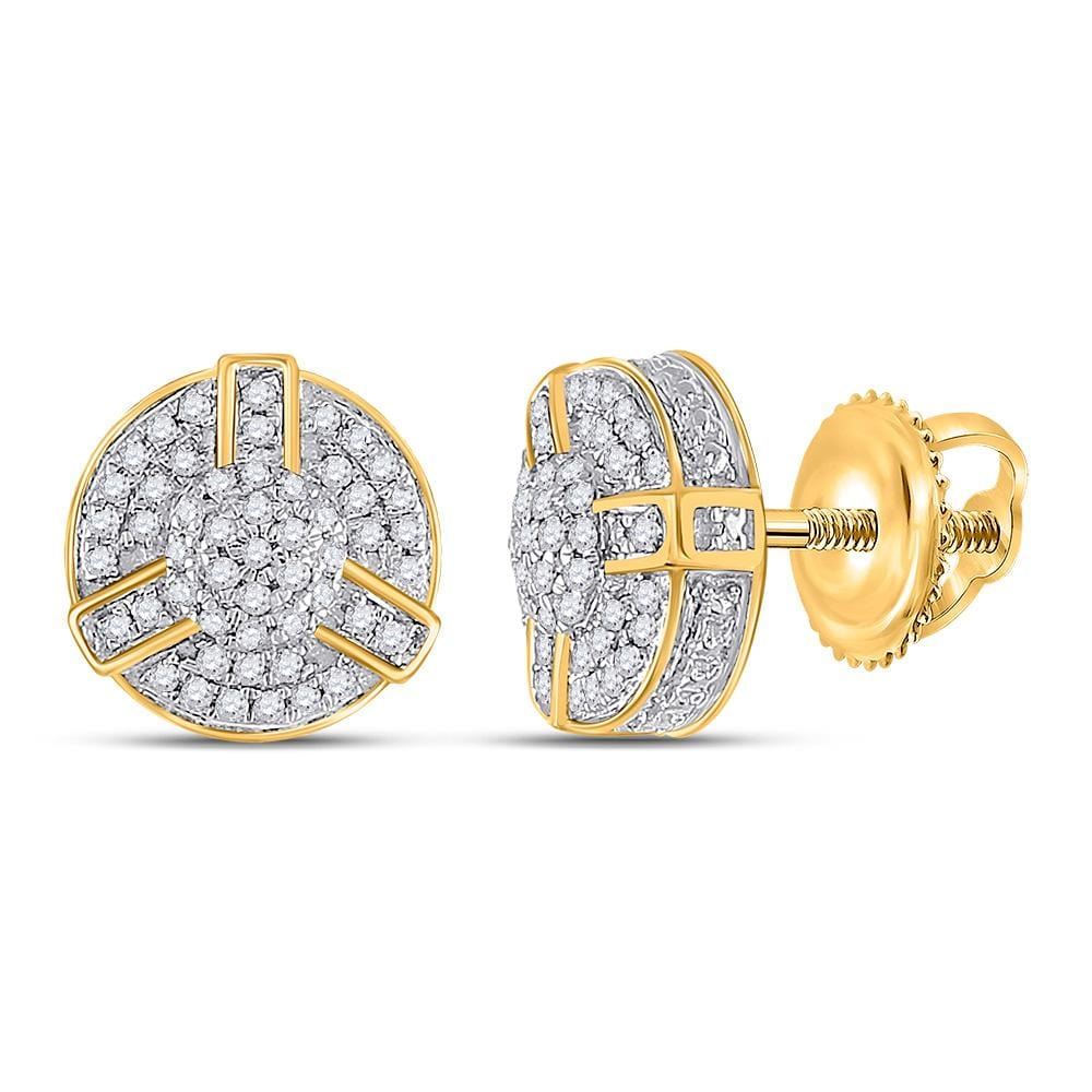 10kt Yellow Gold Mens Round Diamond Cluster Earrings 1/4 Cttw