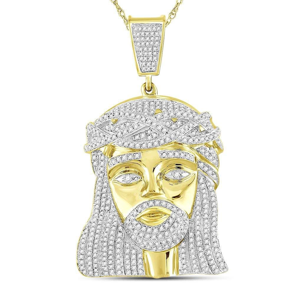10kt Yellow Gold Mens Round Diamond Jesus Christ Messiah Charm Pendant 1-7/8 Cttw