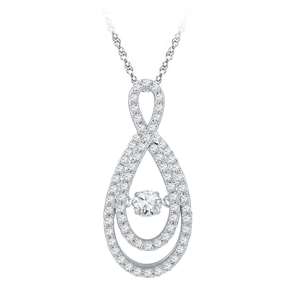 10kt White Gold Womens Round Diamond Moving Twinkle Solitaire Teardrop Pendant 3/4 Cttw